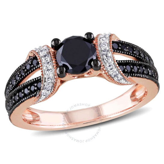 Amour Black & White Diamond Engagement Ring in 10k Rose Gold with Black Rhodium JMS004717-0600   Joma Shop