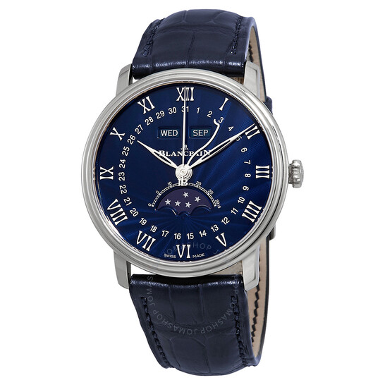 Blancpain Villeret Blue Lacquered Flinque Dial  Automatic Blue Leather Men's Watch 6654-1529-55B | Joma Shop