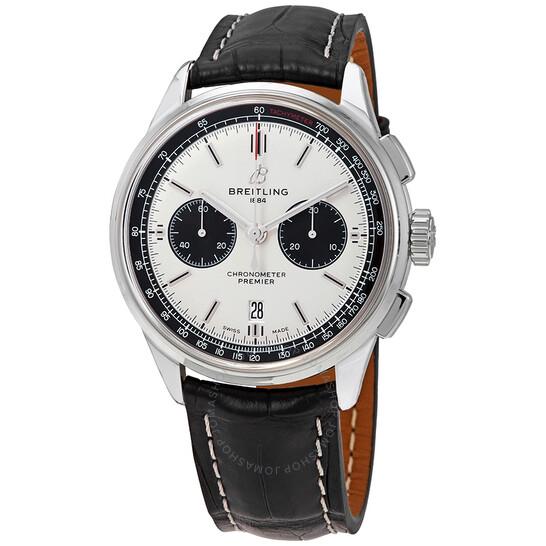 Breitling Premier Chronograph Automatic Chronometer Silver Dial Men's Watch AB0118221G1P2 | Joma Shop