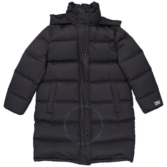 Burberry Black Detachable Hood Monogram Puffer Coat, Brand Size Large | Joma Shop