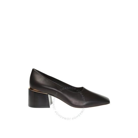Burberry Black Gold Plated Detail Lambskin Block Heel Pumps