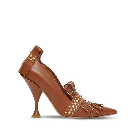 Burberry Brown Studded Kiltie Fringe Leather Point Toe Pumps