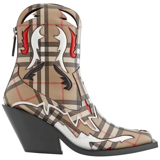 Burberry Brown Topstitch Applique Vintage Check Cowboy Boots