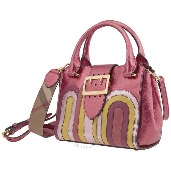 Burberry Buckle Small Leather & Python Tote in Bright Pink
