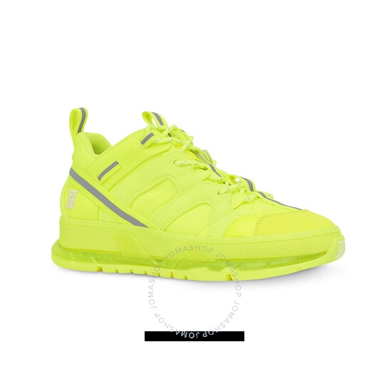 Burberry Ladies Fluorescent Yellow Nylon And Cotton Union Sneakers