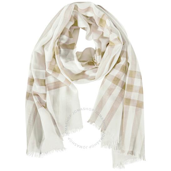 Burberry Lightweight Check Wool Silk Scarf- White/Alabaster | Joma Shop