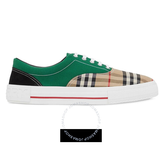 Burberry Mens Vintage Check Cotton Canvas and Suede Sneakers