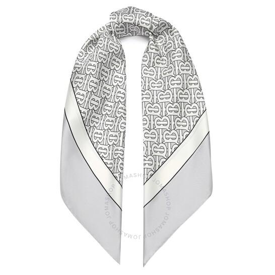 Burberry Monogram Print Silk Square Scarf In Light Pebble Grey   Joma Shop