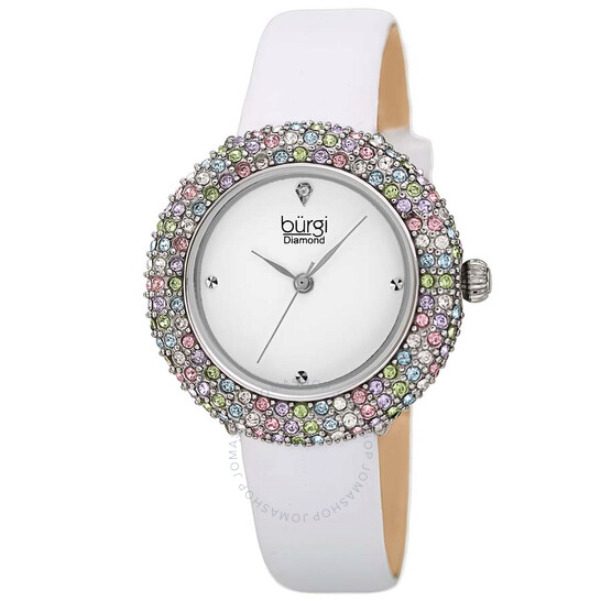 Burgi Ladies Diamond Colored Swarovski Crystal Sparkling Bezel Leather Strap Watch | Joma Shop