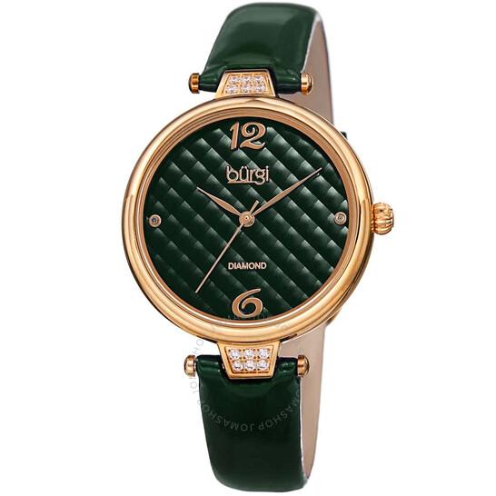 Burgi Ladies Engraved Argyle Diamond Dial Genuine Leather Strap Watch   Joma Shop