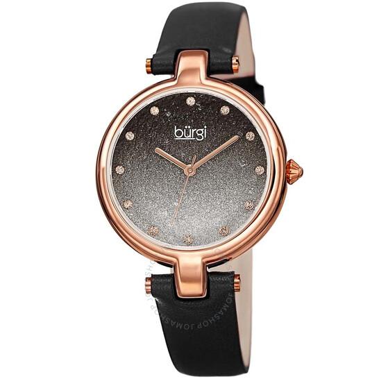 Burgi Ladies Glitter Ombre Swarovski Crystal Dial Black Leather Strap Watch | Joma Shop
