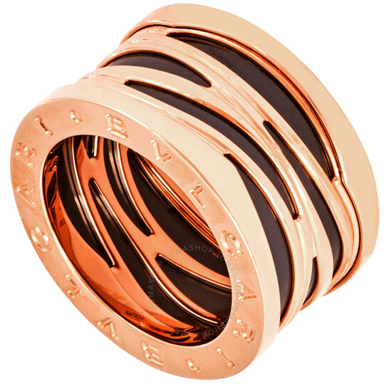 Bvlgari B.Zero 1 18kt Rose Gold and Black Ceramic Ring- Size 54 | Joma Shop