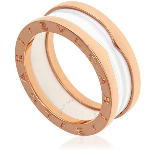 Bvlgari B.Zero1 18K Pink Gold And White Ceramic 2-Band Ring Size 8.5   Joma Shop