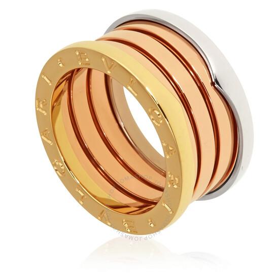 Bvlgari B.Zero1 18K Pink White and Yellow Gold 4-Band Ring, Brand Size 75 | Joma Shop