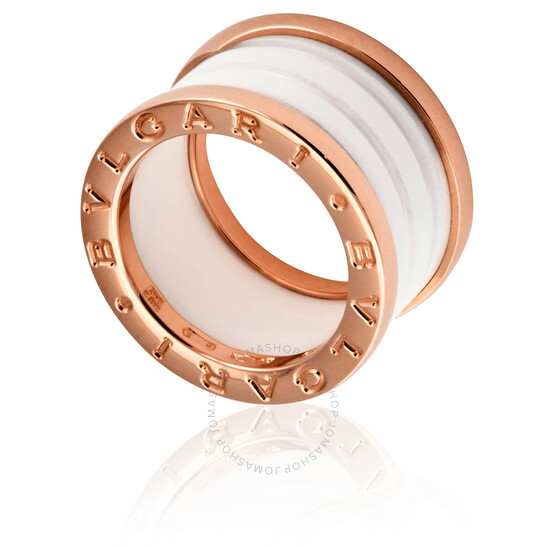 Bvlgari B.Zero1 4-Band 18 kt Rose Gold and White Ceramic Ring, Brand Size  51 | Joma Shop