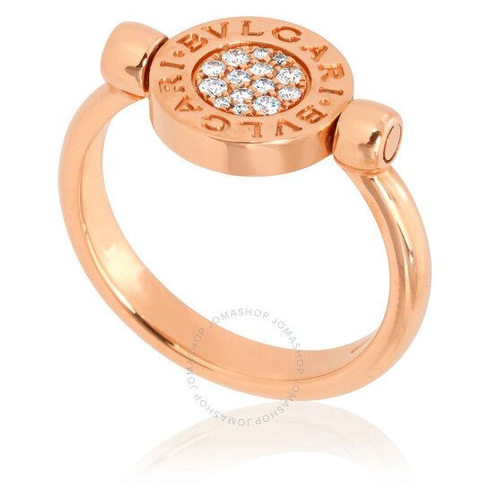 Bvlgari Bvlgari 18K Rose Gold and Mother of Pearl Pave Diamonds Ring, Size 7.75   Joma Shop