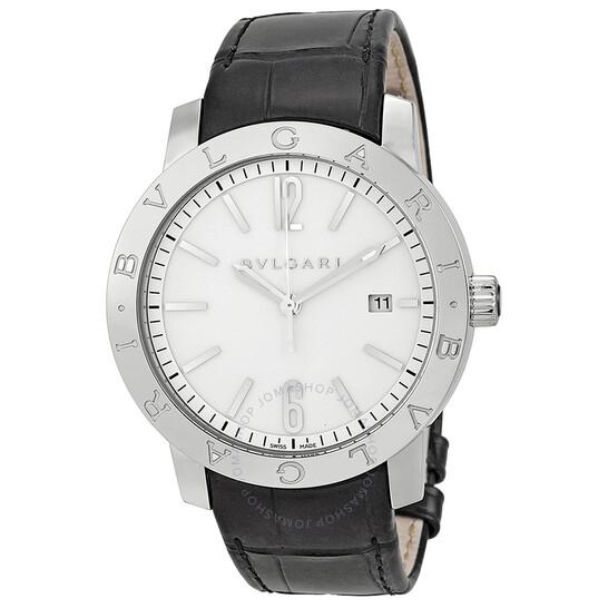 Bvlgari Bvlgari Automatic White Dial Black Leather Men's Watch BB41WSLD | Joma Shop