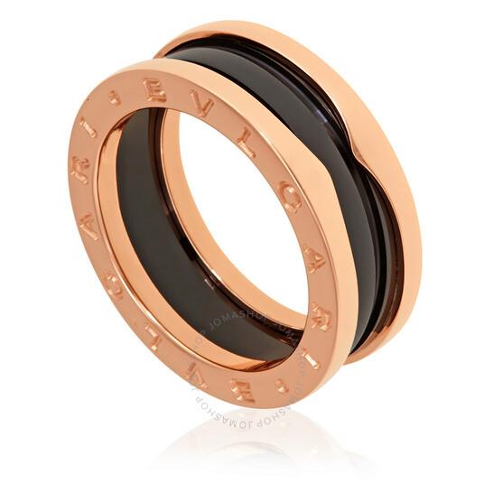 Bvlgari B.Zero1 18K Rose Gold And Black Ceramic 2-Band Ring, Brand Size 60 (US Size 9.25) | Joma Shop