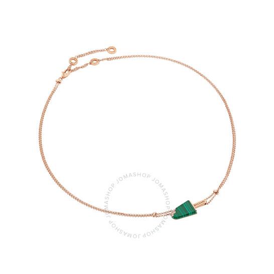 Bvlgari Necklace 18k Rose Gold with Malachite and Pave Diamonds | Joma Shop