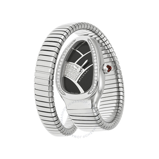 Bvlgari Serpenti Black Dial Stainless Steel Diamond Ladies Watch 101984 | Joma Shop