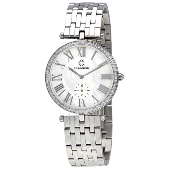 Cabochon Carlita White Crystals Ladies Watch CABOCHON-16389-22   Joma Shop