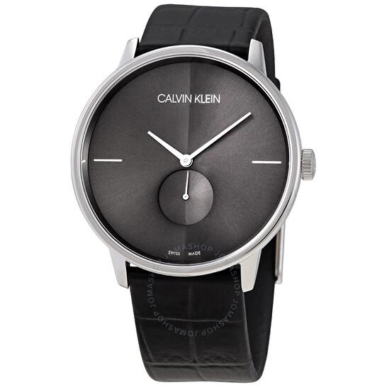 Calvin Klein Accent Quartz Black Dial Black Leather Mens Watch K2Y211C3