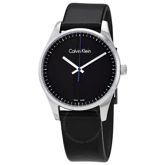 Calvin Klein Steadfast Black Dial Black Leather Mens Watch K8S211C1