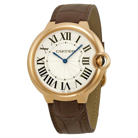 Cartier Ballon Bleu Silver Dial Brown Alligator Leather Men's Watch W6920083 | Joma Shop