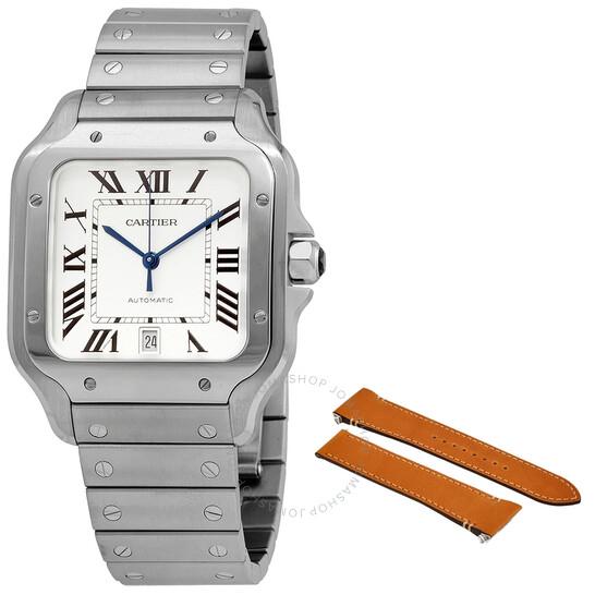 Cartier Santos Silvered Opaline Dial Men's Watch WSSA0018   Joma Shop