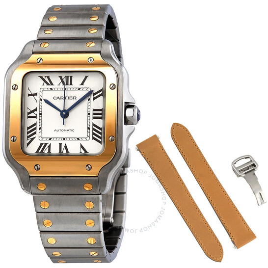Cartier Santos Automatic Steel and 18kt Yellow Gold Men's Watch W2SA0007   Joma Shop