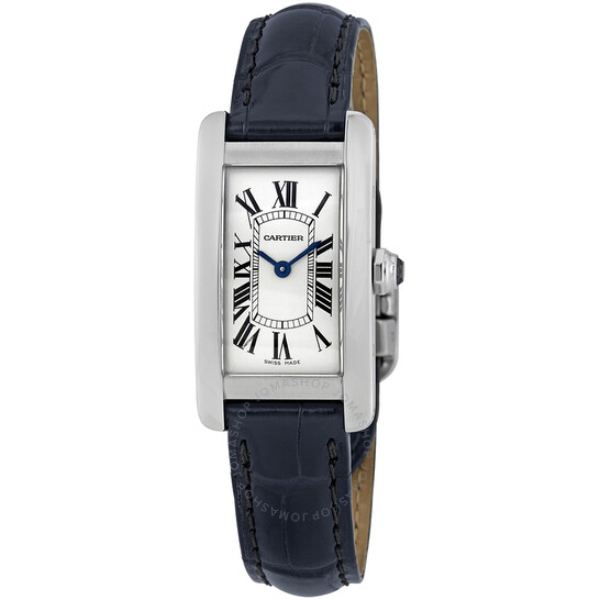 Cartier Tank Americaine Silver Dial Navy Leather Ladies Watch WSTA0016   Joma Shop