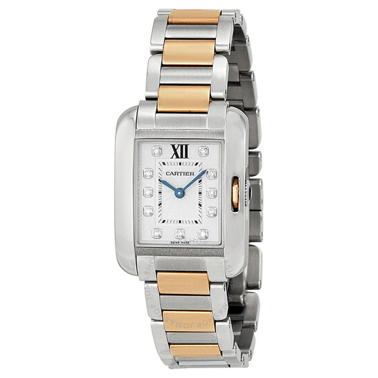 Cartier Tank Anglaise Small Silver Dial Stainless Steel 18kt Rose Gold Ladies Watch WT100024 | Joma Shop