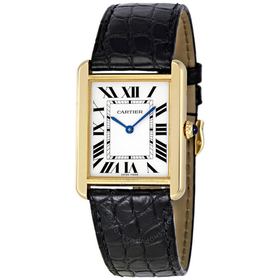 Cartier Tank Solo Silver Dial 18kt Yellow Gold Black Leather Unisex Watch W5200004   Joma Shop
