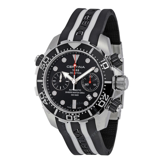 Certina DS Action Diver Chronograph Automatic Black Dial Black and White Rubber Men's Watch C013.427.17.051.00 | Joma Shop