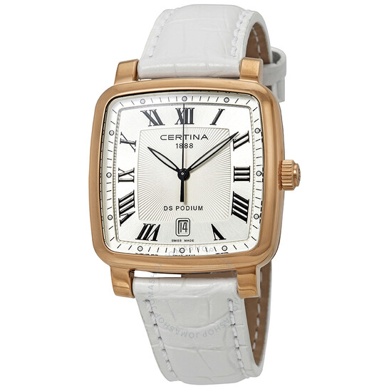 Certina DS Podium Silver Dial White Leather Watch C025.510.36.033.00 | Joma Shop