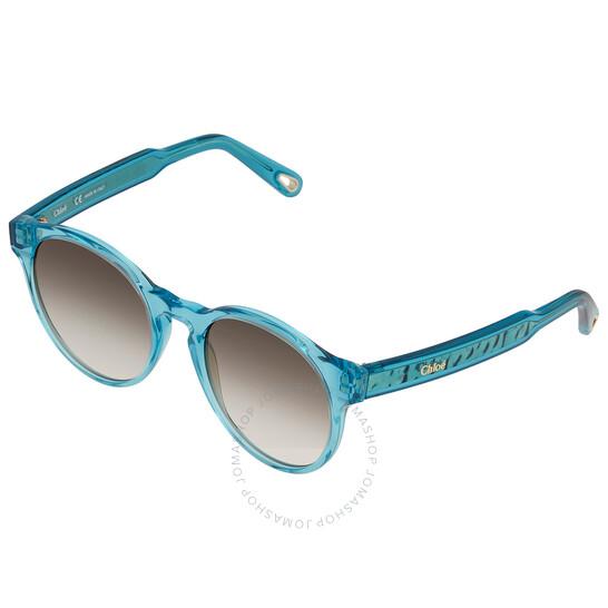 Chloe Brown Gradient Round Ladies Sunglasses (CE753S96952)