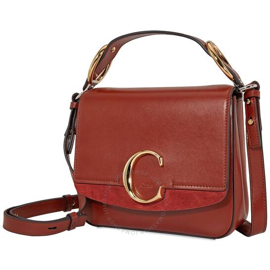 Chloe C Small Square Shoulder Bag (Sepia Brown)