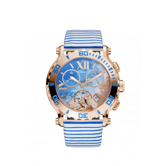 Chopard Happy Sport Chrono Beach Motif Dial 18kt Rose Gold Ladies Watch 283581-5011 | Joma Shop