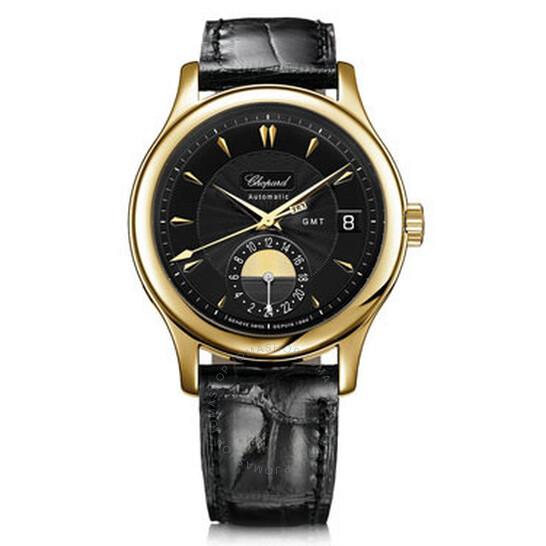 Chopard L.U.C Classic GMT Black Dial Black Leather Men's Watch 161867-0001   Joma Shop