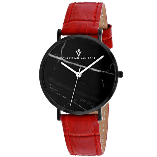 Christian Van Sant Lotus Quartz Black Dial Ladies Watch CV0424RD | Joma Shop