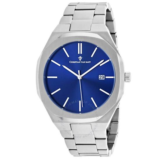 Christian Van Sant Octavius Slim Quartz Blue Dial Men's Watch CV0522 | Joma Shop