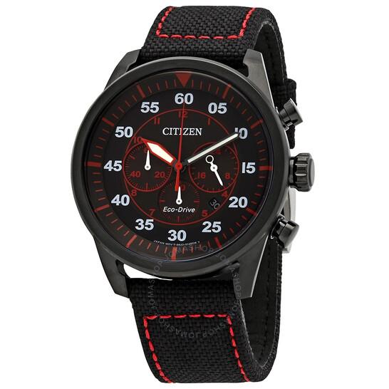 Citizen Avion Chronograph Quartz Black Dial Men's Watch CA4215-12E   Joma Shop