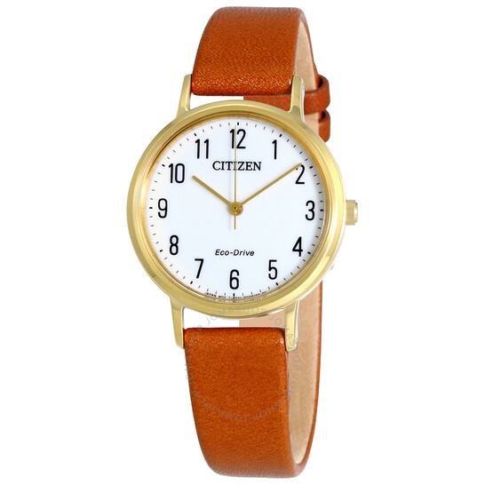 Citizen Chandler Eco-Drive White Dial Brown Leather Ladies Watch EM0572-05A   Joma Shop