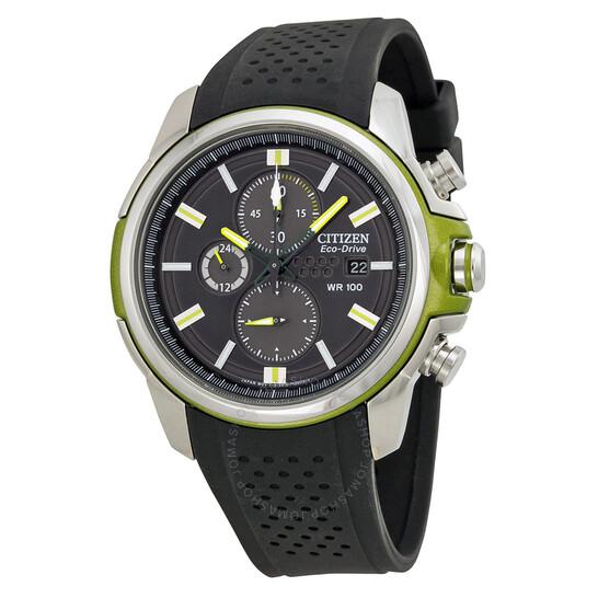 Citizen Eco Drive Black Dial Chronograph Black Rubber Men's Watch CA0427-08E   Joma Shop