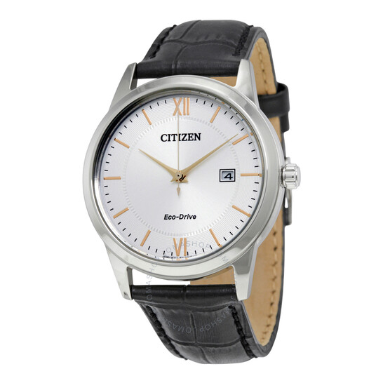 Citizen Eco-Drive Silver Dial Black Leather Men's Watch AW1236-03A | Joma Shop