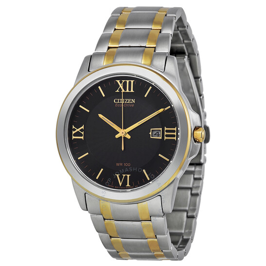 Citizen Eco-Drive Black Dial Two Tone Stainless Steel Men's Watch BM7264-51E | Joma Shop