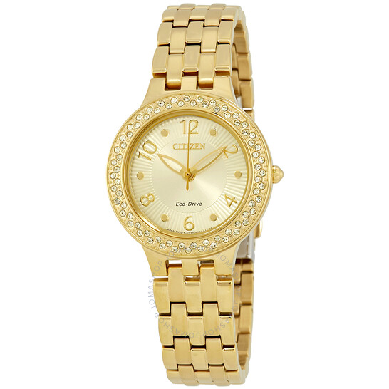 Citizen Silhouette Crystal Eco-Drive Champagne Dial Ladies Watch FE2082-51P   Joma Shop