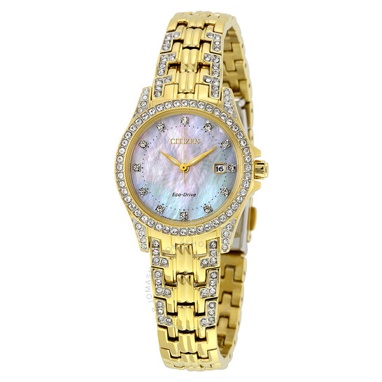 Citizen Silhouette Eco-Drive Crystal Mother of Pearl Dial Gold-Tone Ladies Watch EW1222-84D | Joma Shop