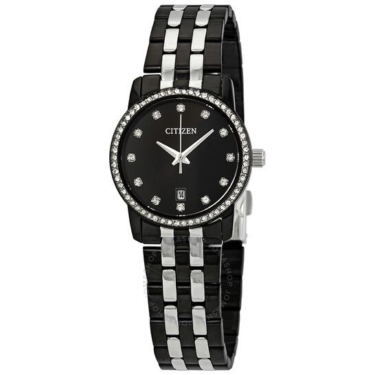 Citizen Swarovski Crystal Black Dial Ladies Watch EU6037-57E | Joma Shop