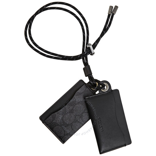 Coach Charcoal Mens ID Lanyard Card Case